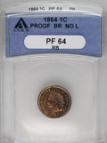 Proof Indian Cents: , 1864 1C Bronze No L PR64 Red and Brown ANACS. The striking details are razor-sharp and the fields retain nice reflectivity,...