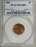 Indian Cents: , 1868 1C MS64 Red PCGS. A shimmering yellow-gold example with aprecise strike and only moderate carbon. Struck from clashed...