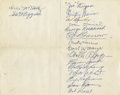 Autographs:Others, 1948 Yankee Stadium Silver Anniversary Multi-Signed Invitation withGeorge Ruppert. Scarce invitation to celebrate twenty-f...