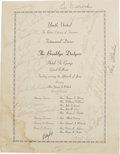 Autographs:Others, 1947 Brooklyn Dodgers Team Signed Dinner Program. Two months to the day after the brave Jackie Robinson made his historic t...