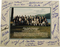Autographs:Photos, 1997 Hall of Fame Induction Ceremonies Multi-Signed Photograph. Official group portrait snapped at the fifty-eighth anniver...