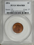 Indian Cents: , 1894 1C MS65 Red PCGS. Rich cherry-red color and a bold strike. Afew carbon spots are noted on each side. Population: 59 i...