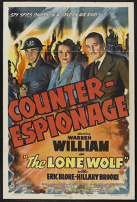 """Counter-Espionage (Columbia, 1942). One Sheet (27"""" X 41""""). Mystery. Starring Warren William as """"The Lone..."""