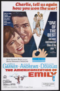 "Movie Posters:Comedy, The Americanization of Emily (MGM, 1964). One Sheet (27"" X 41""). Drama/Comedy. Starring James Garner, Julie Andrews, Melvyn ..."