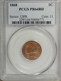 Proof Indian Cents: , 1868 1C PR64 Red PCGS. Crisply struck throughout, with an opaque coating of reddish-orange patina over each side. Distracti...