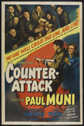 "Movie Posters:War, Counter-Attack (Columbia, 1945). One Sheet (27"" X 41""). War.Starring Paul Muni, Marguerite Chapman, Larry Parks and Harro M..."