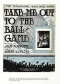 "Autographs:Authors, Take Me Out To The Ball Game Sheet Music Twice Inscribed, ""ToThe Lincoln Library Jack Norworth"", Six-page song, 10.5"" x..."