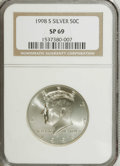 SMS Kennedy Half Dollars: , 1998-S 50C SMS MS69 NGC. NGC Census: (526/182). PCGS Population (1347/146). Numismedia Wsl. Price: $310. (#6775)...