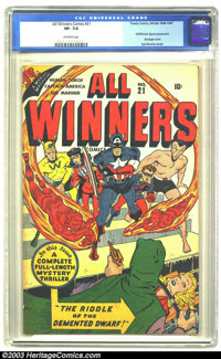 """All Winners Comics #21 (Timely, 1947) CGC VF- 7.5 Off-white pages. Syd Shores bondage cover. Al Avison art. Rated """"..."""