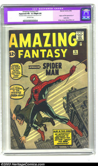 Amazing Fantasy #15 (Marvel, 1962) CGC Apparent FN- 5.5 Slight (A) Off-white pages. The big one - first appearance of Sp...