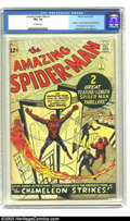 Silver Age (1956-1969):Superhero, Amazing Spider-Man #1 (Marvel, 1963) CGC FN+ 6.5 Off-white pages.Unrestored copy of this historic first issue. Art by Jack ...