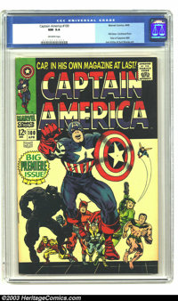 Captain America #100 (Marvel, 1968) CGC NM 9.4 Off-white pages. First issue; art by Jack Kirby. Deep, rich color. Overst...
