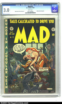 Mad #5 (EC, 1953) CGC GD/VG 3.0 White pages. Bill Elder cover and art. Jack Davis and Wally Wood art. Contains biography...