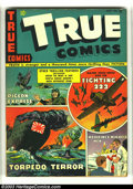 Golden Age (1938-1955):War, True Comics #25 (Parents' Magazine Institute, 1943) Condition: VF-.True stories include Pigeon Express, Torpedo Terror, Maj...