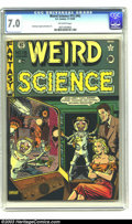 Golden Age (1938-1955):Horror, Weird Science 15 (#4) (EC, 1950) CGC FN/VF 7.0 Off-white pages. Warof the Worlds cover and story. Cover art by Al Feldstein...
