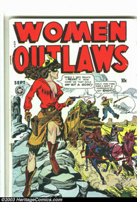 Women Outlaws #2 (Fox, 1948) Condition: VG-. Headlight cover, violent contents. Overstreet 2003 VG 4.0 value = $114