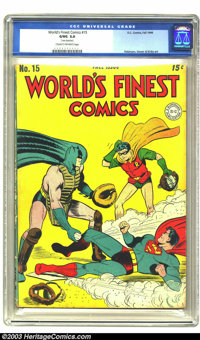World's Finest Comics #15 (DC, 1944) CGC GD/VG 3.0 Cream to off-white pages. Jerry Robinson, Joe Simon and Jack Kirby ar...