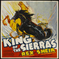 """Movie Posters:Western, King of the Sierras (Grand National, 1938). Six Sheet (81"""" X 81""""). Western...."""