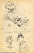 Original Comic Art:Sketches, Robert Crumb - Original Sketches, Umbrella (1961). It's a blustery day, and an early Felix the Cat prototype is having a tou...