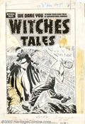 Original Comic Art:Covers, Lee Elias - Original Cover Art for Witches Tales #10 (Harvey,1953). The Prince of Darkness himself makes an appearance on t...