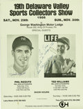 """Autographs:Others, Hobby Show Poster Signed by Ted Williams and Phil Rizzuto. This19x25"""" poster advertising the 1986 Delaware Valley Sports C..."""