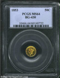 California Fractional Gold: , 1853 Liberty Round 50 Cents, BG-430, R.3, MS64 PCGS. ...