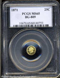 California Fractional Gold: , 1871 Liberty Round 25 Cents, BG-809, Low R.4, MS65 PCGS. ...