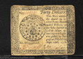 Colonial Notes:Continental Congress Issues, September 26, 1778, $40, Continental Congress Issue, CC-84, XF....