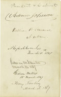 Autographs:U.S. Presidents, Andrew Johnson and His Cabinet...