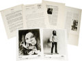 "Music Memorabilia:Memorabilia, Janis Joplin Press Kit with Photos. A vintage press kit, circa1969, containing press notes and two b&w 8"" x 10"" glossyprom..."