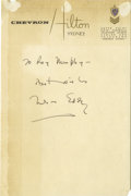 Music Memorabilia:Autographs and Signed Items, Nelson Eddy Signed Letter. A single-page undated letter on hotelstationery, handwritten and signed by Eddy in black ink. It...
