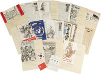 """Grouping of 16 Korean War Anti-Communist UN Propaganda Leaflets From 1952. Each approximately 5"""" x 8"""" and stap..."""