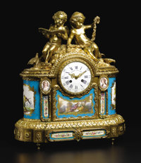 A Fine French Sevres-style Porcelain and Gilt Bronze Mantle Clock  Unknown maker, French Circa 1870-1890 Porcelain with...