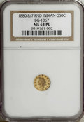California Fractional Gold: , 1880/70 50C Indian Round 50 Cents, BG-1067, Low R.4, MS63 ProoflikeNGC. A prominently mirrored round half with clean surfa...