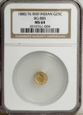 California Fractional Gold: , 1880/76 25C Indian Round 25 Cents, BG-885, R.3, MS64 NGC. An evenlystruck and lustrous piece with slightly wavy honey-gold...