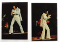 "Music Memorabilia:Photos, Elvis Presley Rare Concert Photos. A pair of color 4"" x 6""snapshots of Elvis at an unspecified concert, circa 1972,imprint..."