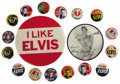 "Music Memorabilia:Memorabilia, Elvis Presley Vintage Pinback Buttons. Includes a 3.5"" ""I LikeElvis"" pinback, a 2.5"" lenticular pinback, and 16 assorted 1""..."