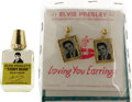 Music Memorabilia:Memorabilia, Elvis Presley Vintage Perfume and Earrings (1957). Included is avintage pair of gold frame earrings featuring tiny b&w Elvi...