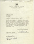Music Memorabilia:Autographs and Signed Items, Count Basie Signed Contract. A single page agreement on WilliamMorris Agency letterhead, dated January 24, 1949, signed by ...