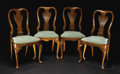 Furniture: English, A Set of Four English Queen Anne Walnut Side Chairs. Unknown maker, England. Circa 1720-1730. Walnut veneer and solids on ... (Total: 4 )