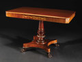 Furniture : Continental, An Inlaid Mahogany Pedestal Table. Unknown maker, Continental.Early Nineteenth Century. Mahogany. Unmarked. 29 inches hig...
