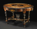 Furniture : American, An American Aesthetic Style Center Table. Attributed to Pottier & Stymus, New York, New York. Circa 1870. Rosewood, eboniz...