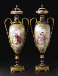 Furniture , A Pair of Monumental Sèvres-style Porcelain and Gilt Bronze Vases with Lids. Unknown maker, painting signed by J. Pascault... (Total: 2 )