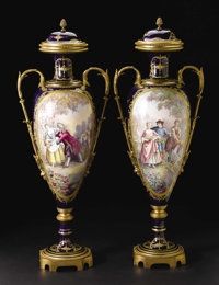 A Pair of Monumental Sèvres-style Porcelain and Gilt Bronze Vases with Lids  Unknown maker, painting signed by J...