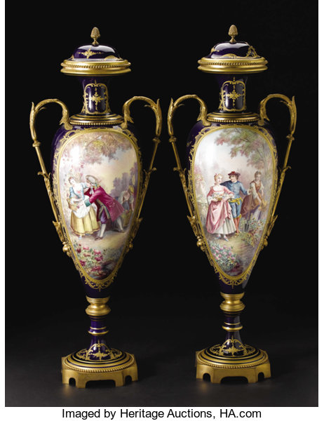 A Pair Of Monumental Svres Style Porcelain And Gilt Bronze Lot