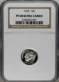 Proof Roosevelt Dimes: , 1959 10C PR68 Deep Cameo NGC. NGC Census: (12/2). PCGS Population(23/3). Numismedia Wsl. Price: $400. (#95234)...