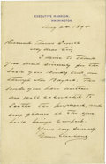 Autographs:U.S. Presidents, Grover Cleveland Autograph Letter Signed as President. ...
