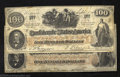 Confederate Notes:1862 Issues, Two 1862 $100 notes, J.C. Calhoun on left; Slaves weeding ... (2notes)