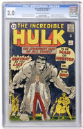 Silver Age (1956-1969):Superhero, The Incredible Hulk #1 (Marvel, 1962) CGC GD 2.0 Off-white pages....