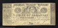 Obsoletes By State:Arkansas, 1862 $10 State of Arkansas Treasury Warrant, Little Rock, AR, ...